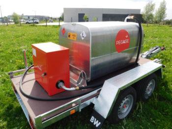 Remorque RFD 900 pompe 220 V Pegase carburant, la gazolette du 21ème siècle