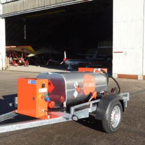 Remorque citerne Pegase carburant aviation 320 litres ouverte